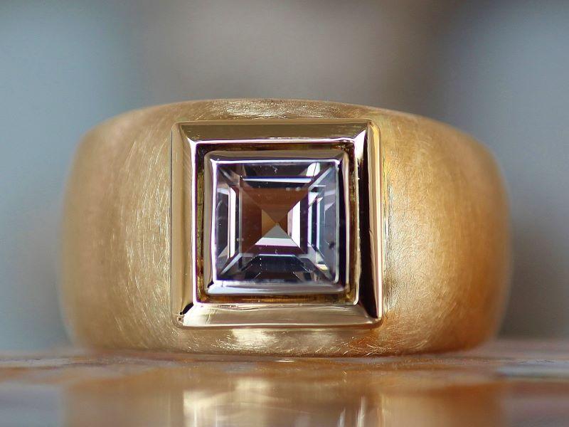 Ring SMOKY GREY Unikat Gold Weissgold Turmalin